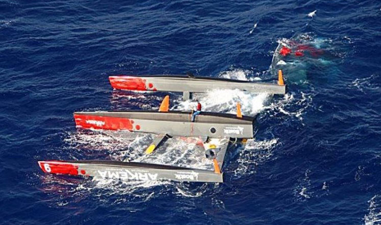 Capsized trimaran