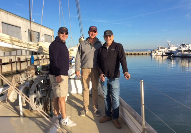 Three sailors on the bow