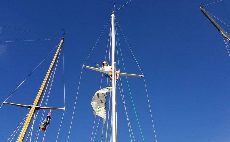 Jules up the mast