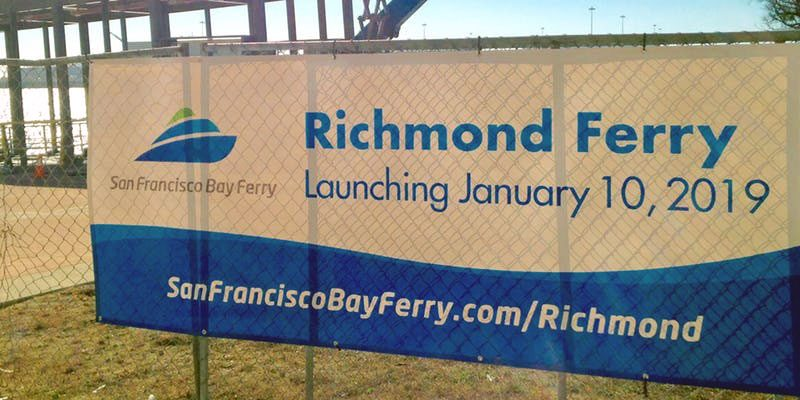 Richmond Ferry coming sign