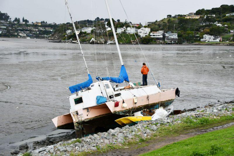 Trimaran aground