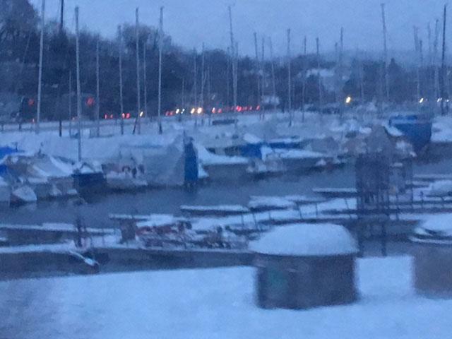 Dark, blue harbor