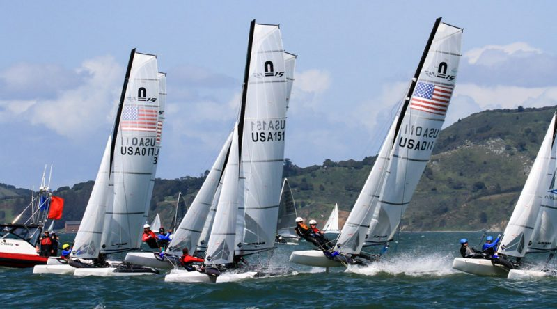 Line up of Nacra 15s at the start.