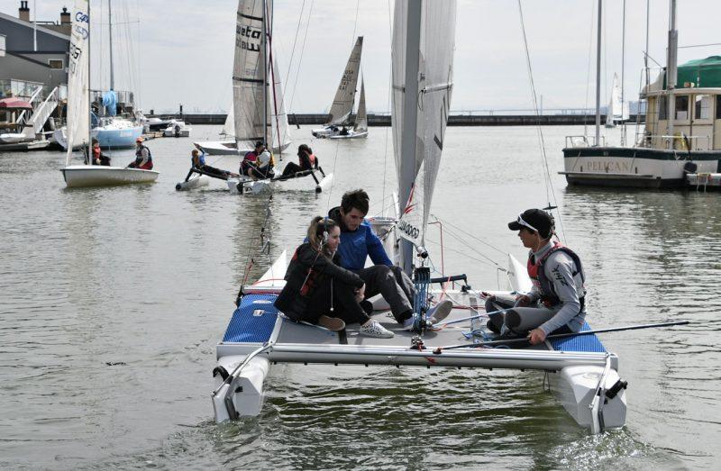 Catamaran in harbor
