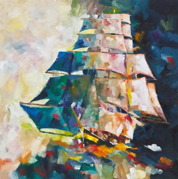Painting of tall ship with all sails set