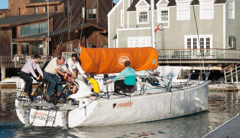 Envolee pedaling around the harbor