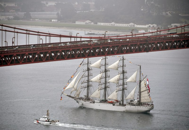 Tall ship under Golden Gate Bridge
