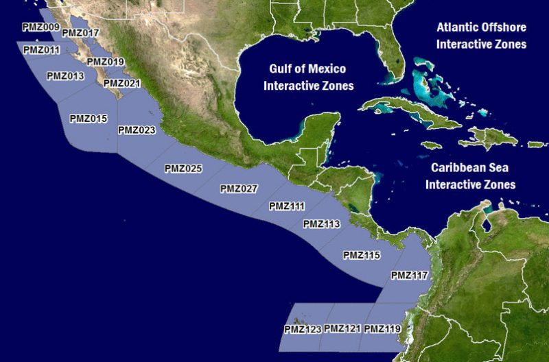 map of forecast zones along West Coast of Latin America