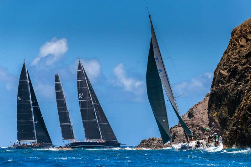 fleets round a rocky island