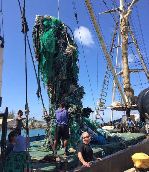 hauling up a ton of debris