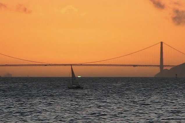 Sunset with Golden Gate Bridge and green flash