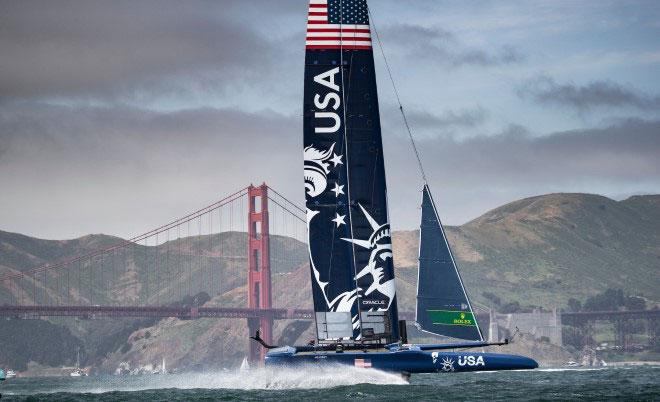 Team USA foiling past the Golden Gate Bridge
