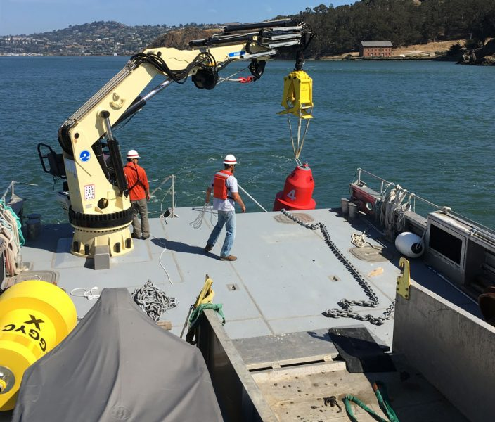 Setting the Knox Buoy in place