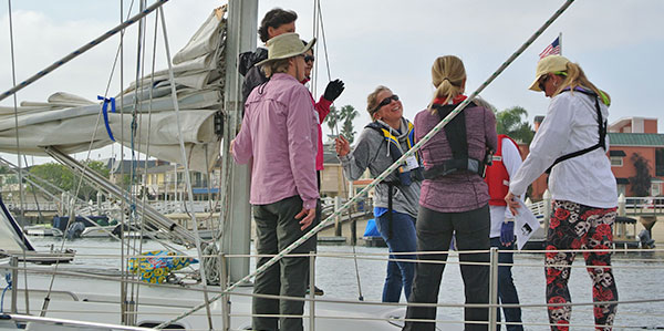 Women aboard at the dock