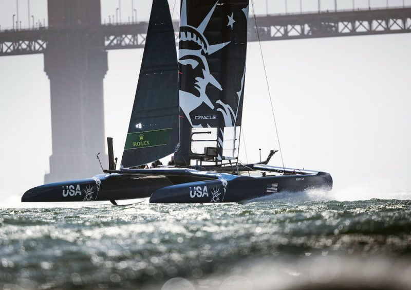 US SailGP F50 catamaran in front of Golden Gate Bridge