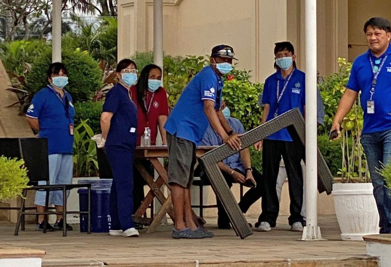 Masked staff in Subic Bay