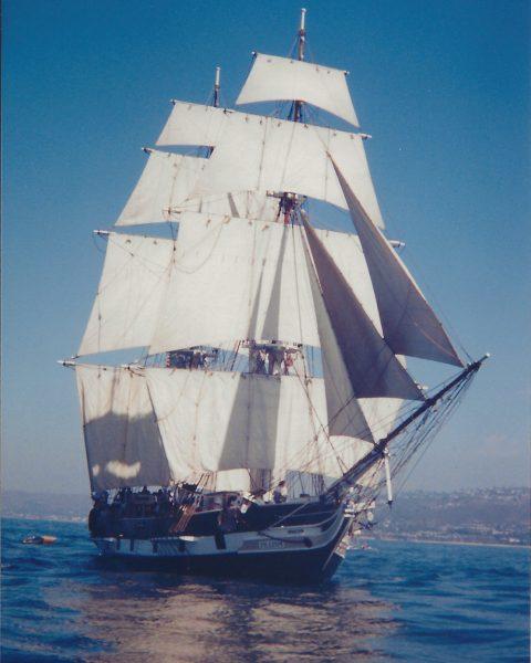 Brig Pilgrim sailing in light air circa 2000