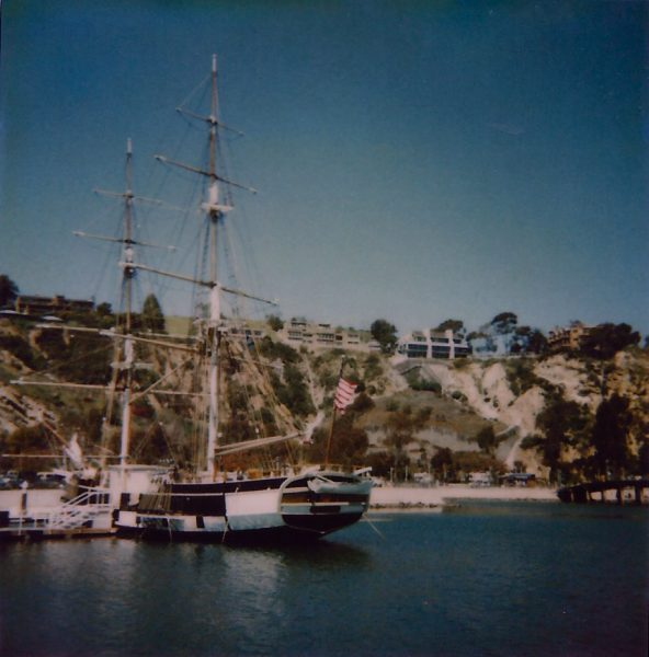 Pilgrim is docked in front of a southern California hillside