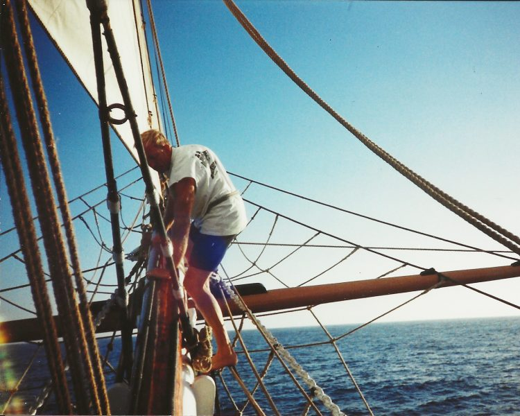Capt. Jim working on the bowsprit circa 2000