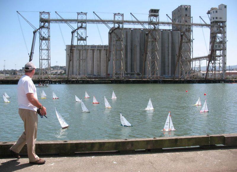 Fleet of model boats sailing