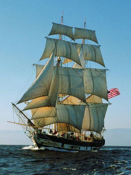 Brig Pilgrim sailing in light air with full sails circa 2000