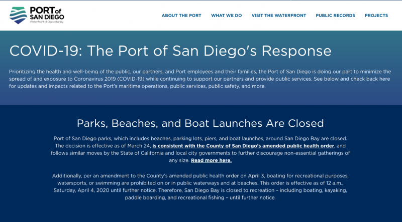 The Port of San Diego Closed