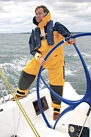 Chuck Hawley at the wheel of a Sydney 38 on Monterey Bay