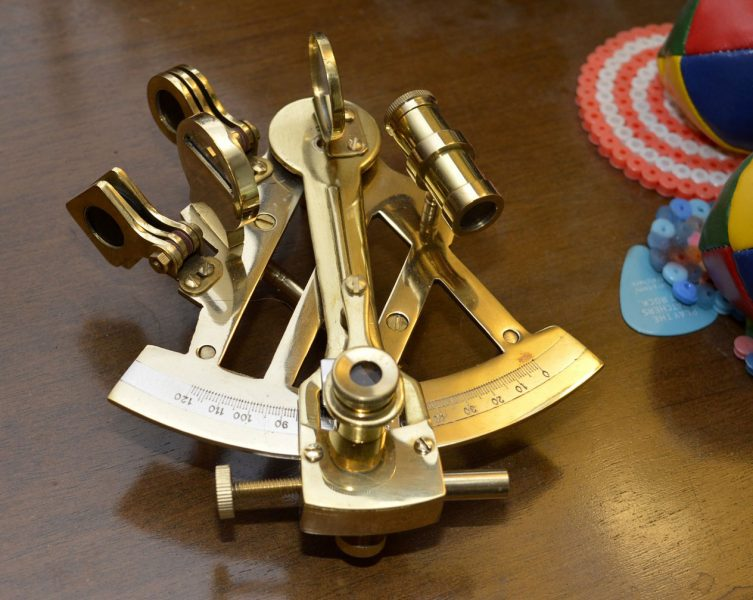 Small brass sextant