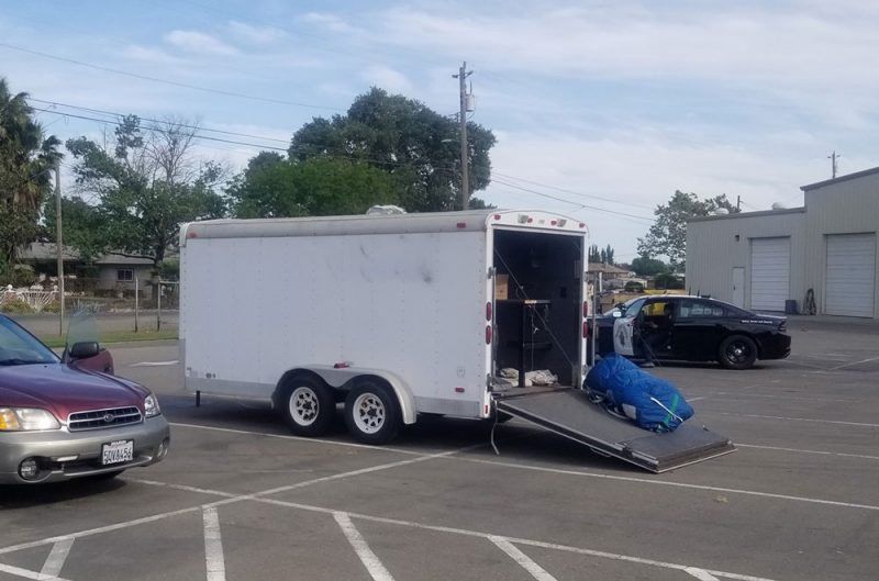Trailer in a parking lot