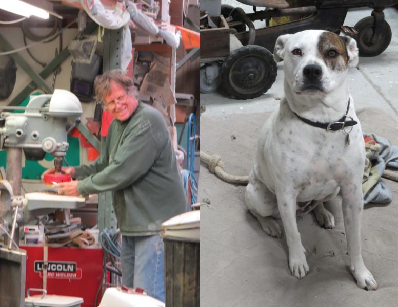 Craig Smith and his shop dog Hazel
