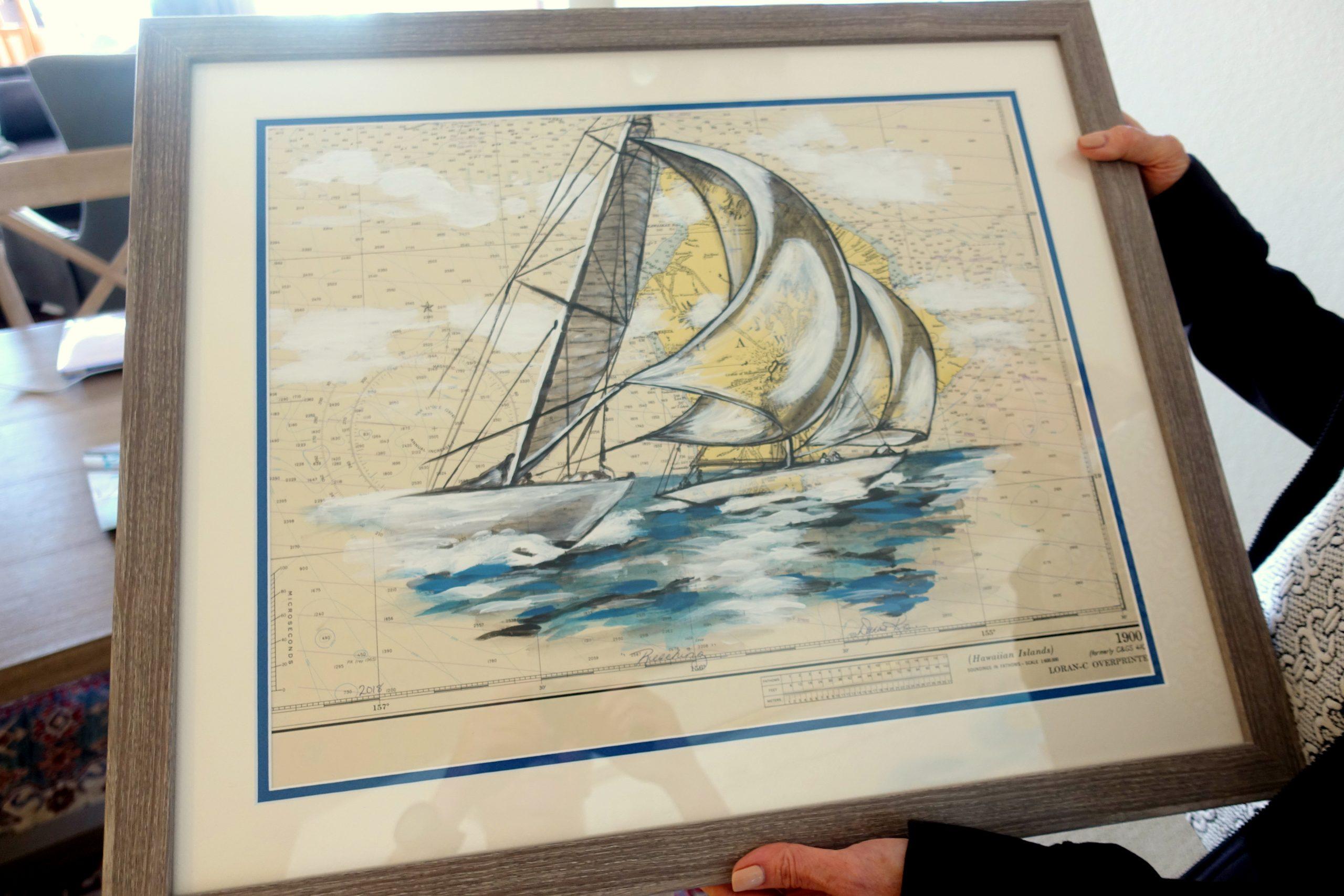 Sailboats on Hawiian Islands chart