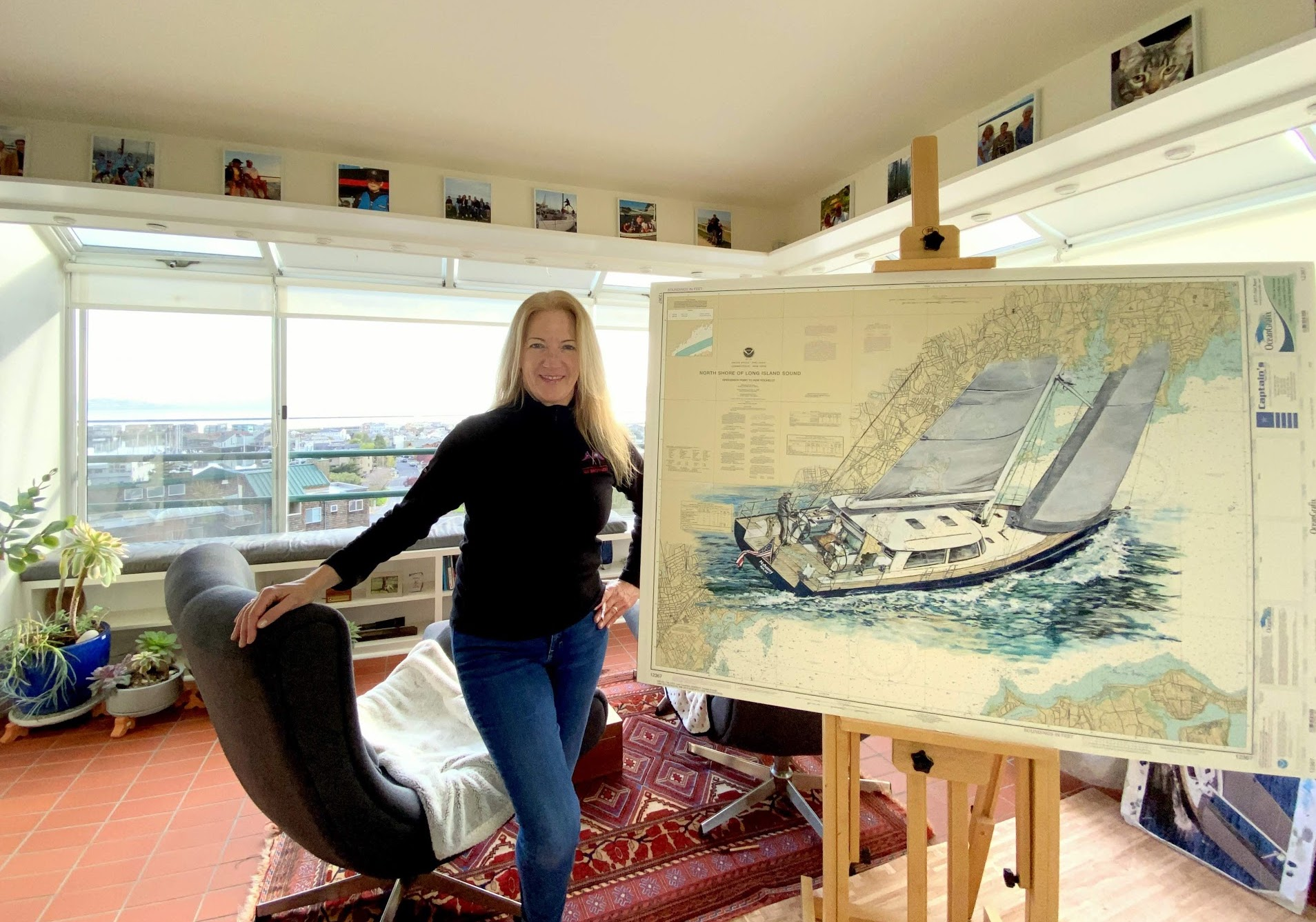 Denise with Long Island Sound, chart painting