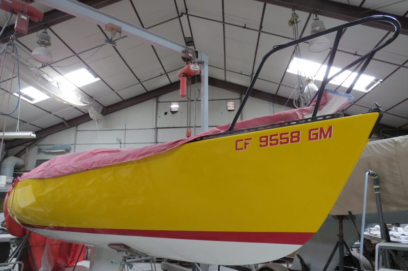 This re-gelcoated Santa Cruz 27, with the project interrupted by the pandemic, looks like a brand new boat