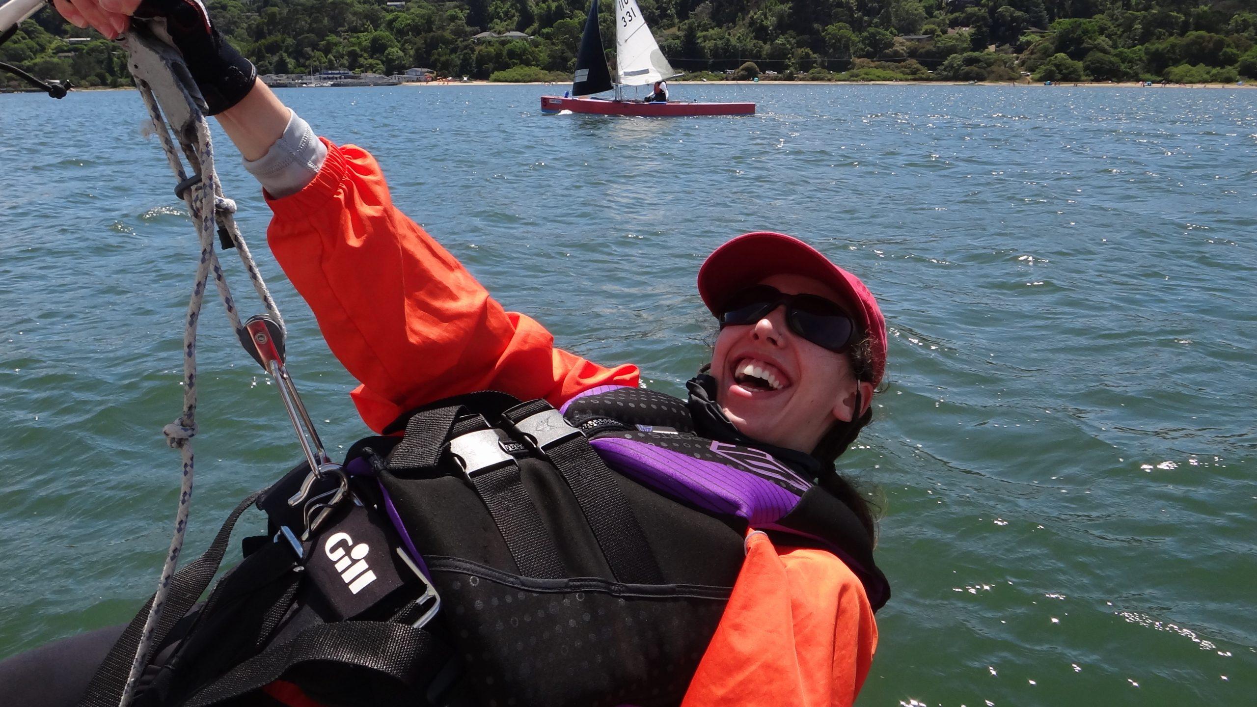 Naomi Sporer all smiles on the trapeze.