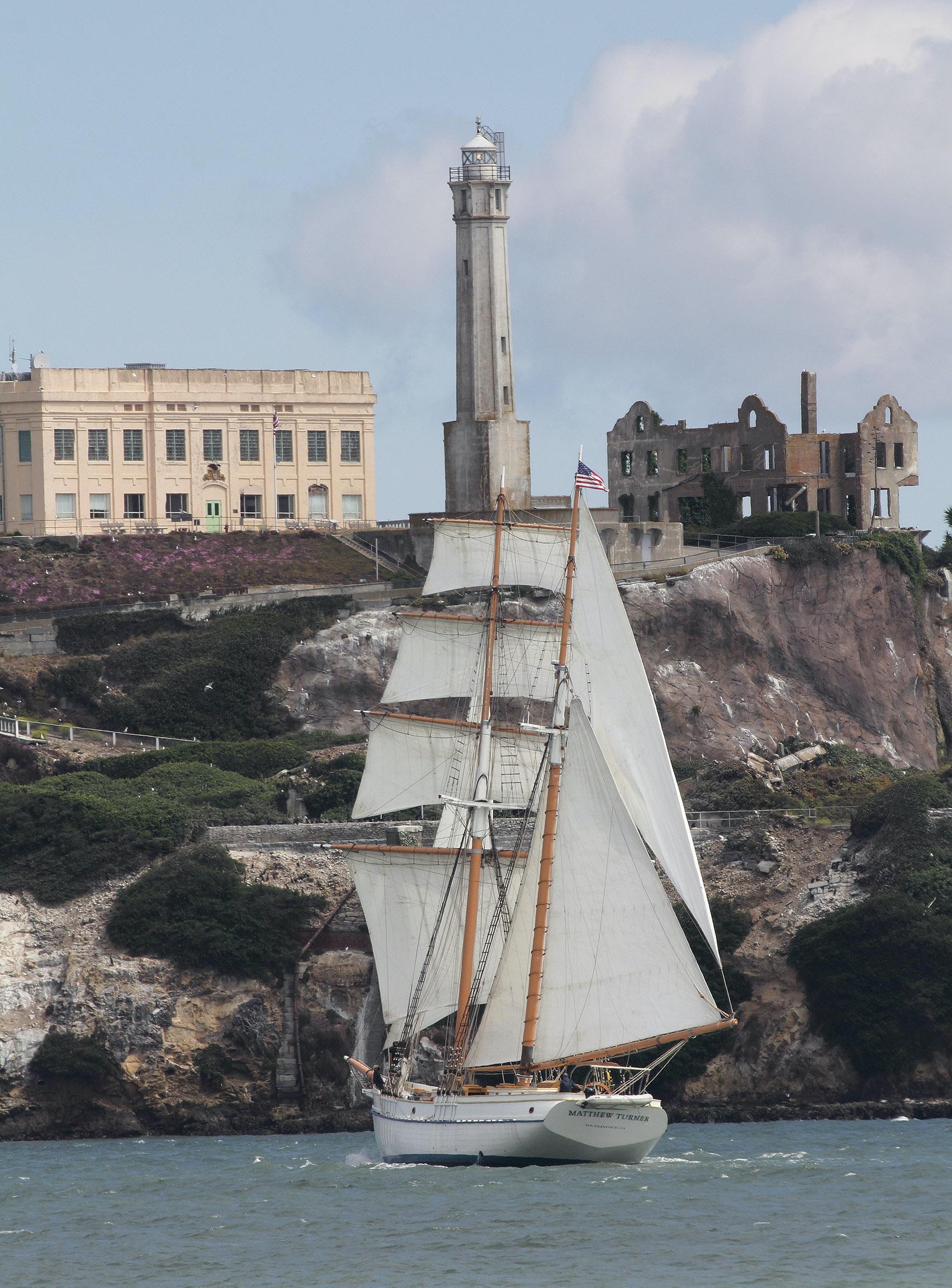 Matthew Turner sails by Alcatraz