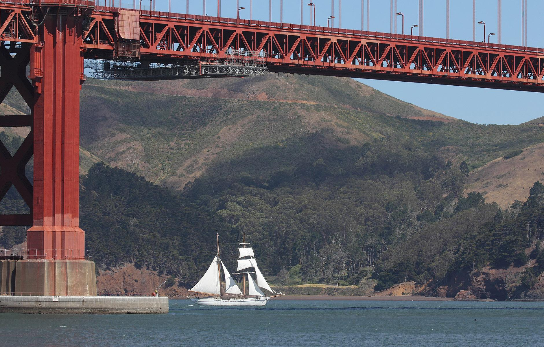 Matthew Turner sails beneath Golden Gate Bridge