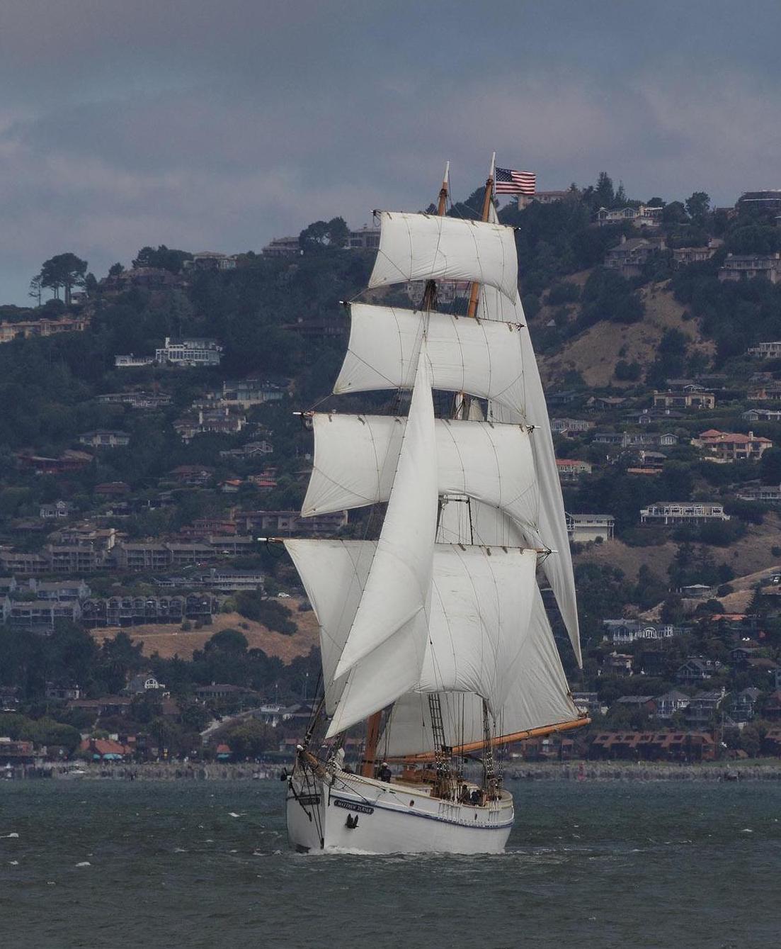 Matthew Turner flies her sails on the Bay