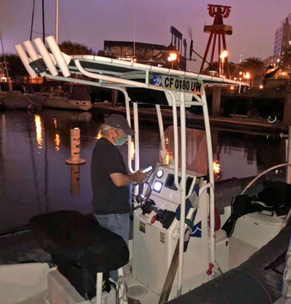 Mackin at the dock at night