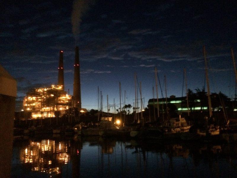 Moss Landing power plant at night
