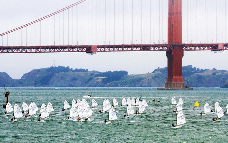 Opti fleet with Golden Gate Bridge