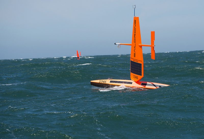 Saildrone upwind on the open ocean