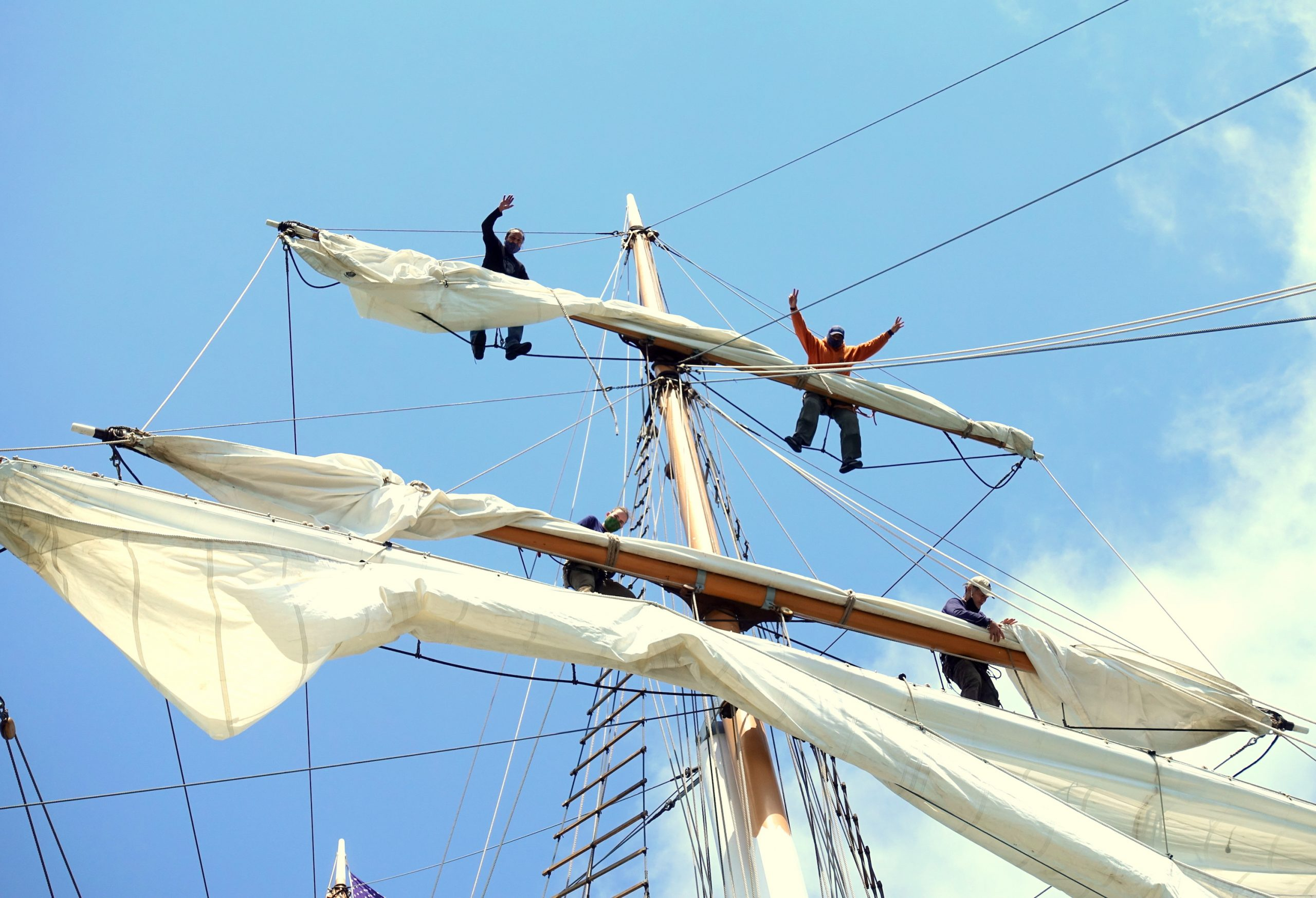 MT crew cheer will wrapping sails after COI test
