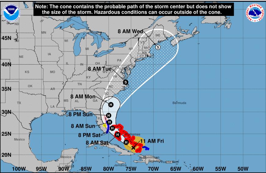NOAA's Hurricane Isaias trajectory