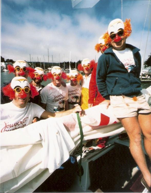 Clown faced college sailors
