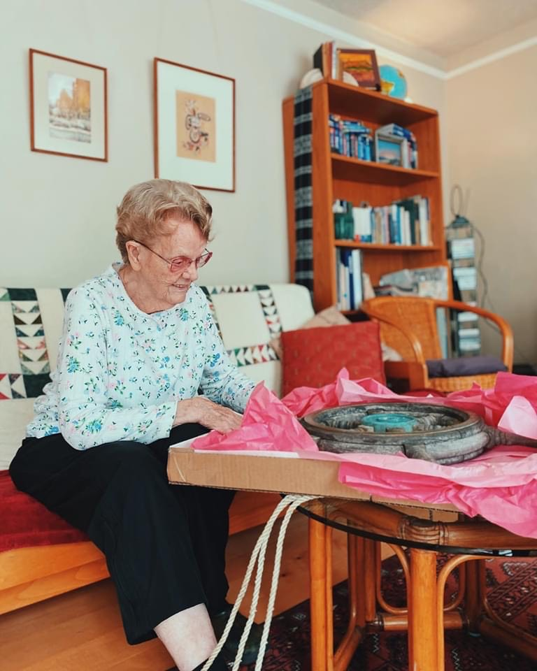 Sharon Sites Adams unwraps Sea Sharp ll's wheel