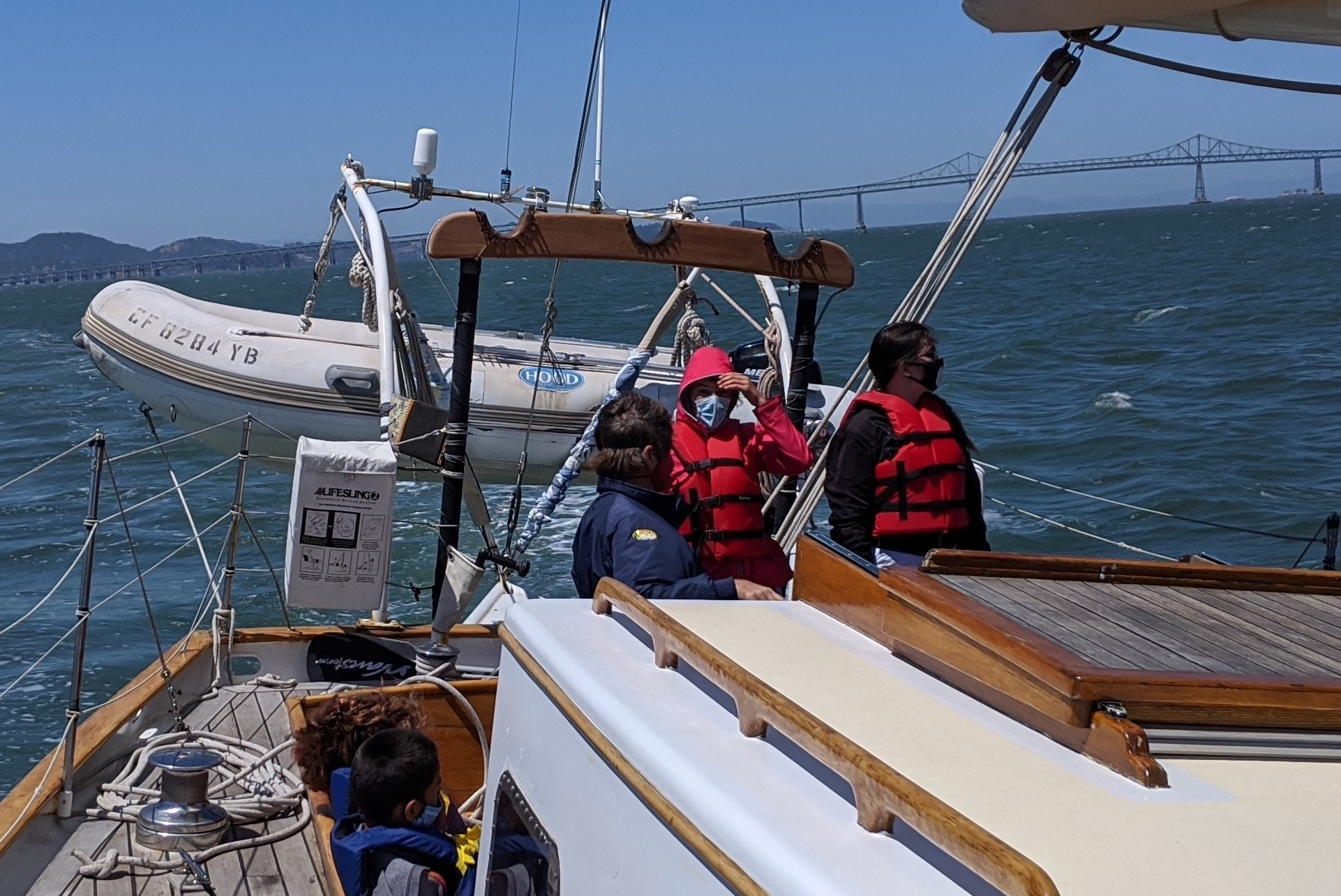 Masked sailors at the helm