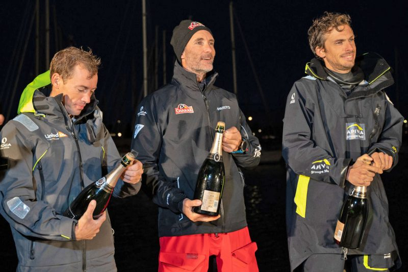 Podium finishes with champagne bottles
