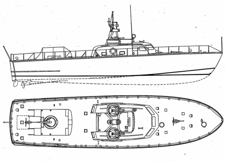 Outline drawing of 85-ft Crashboat