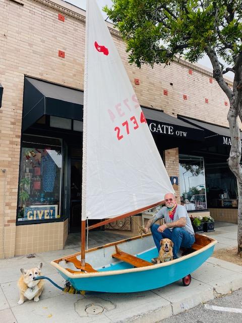 Ben sidewalk sailing the Sabot