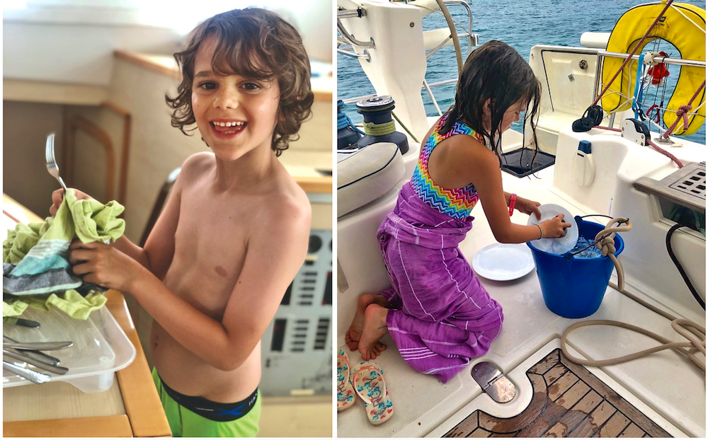 Milum kids doing dishes on board